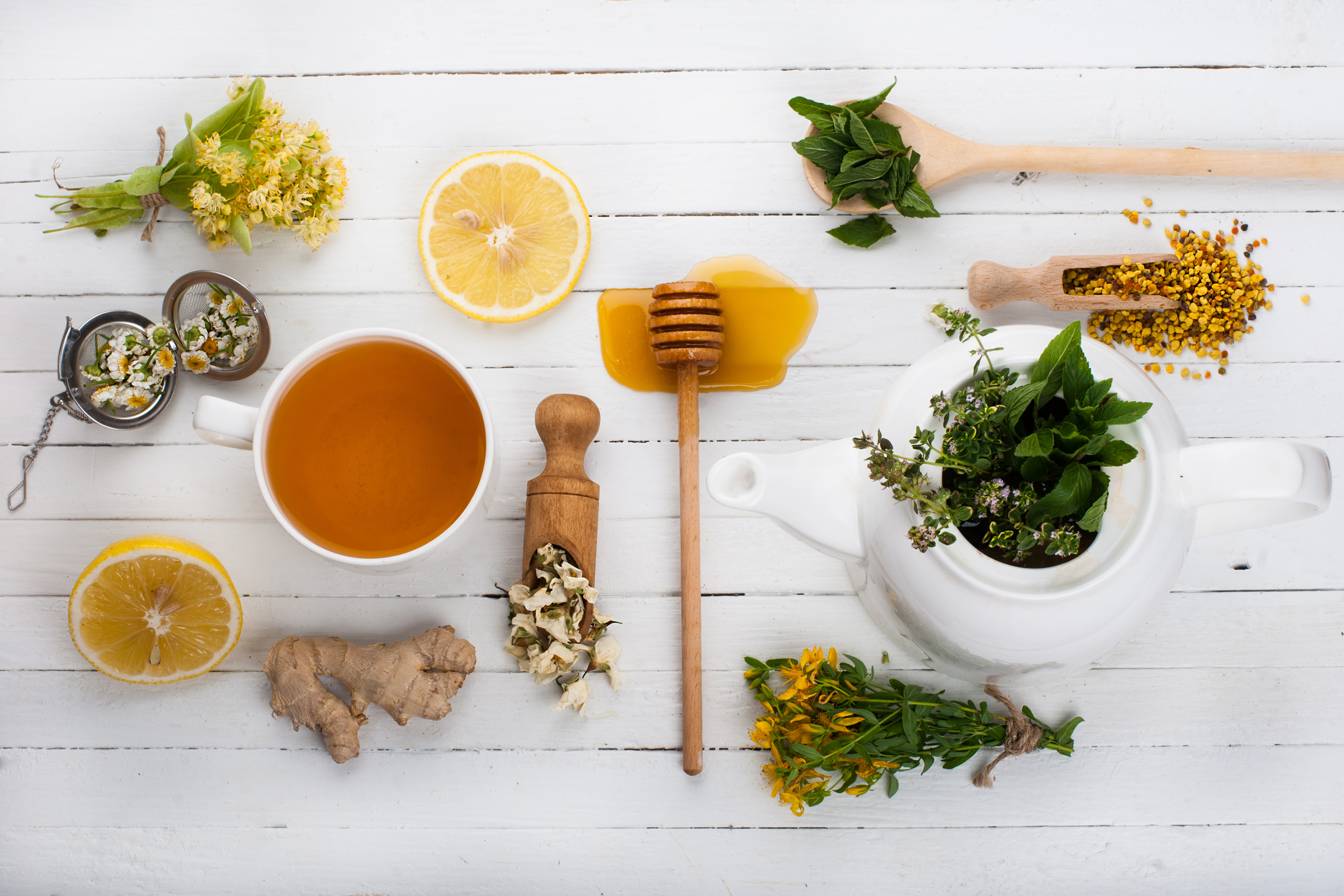 Set for herbal tea. Detox background.